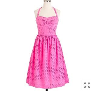 J Crew Loretta Dress Eyelet Pink Cotton Halter